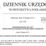 Rozporządzenie Powiatowego Lekarza Weterynarii w Mońkach